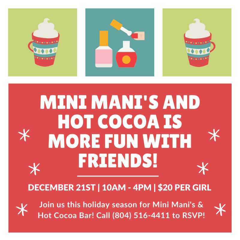 mini manis and hot cocoa bar holiday event at Spa-Tacular parties