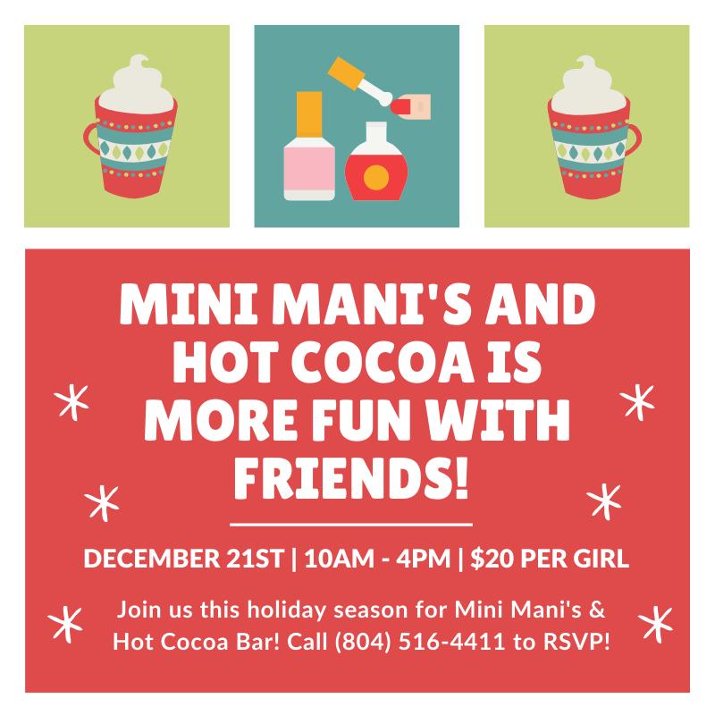 mini manis and hot cocoa bar holiday event at Spa-Tacular parties